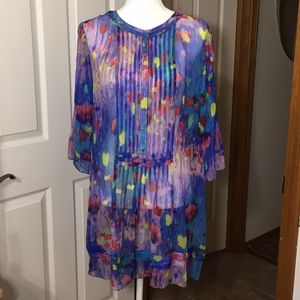 Elie Tahari Watercolor Sheer Silk Dress Sz L